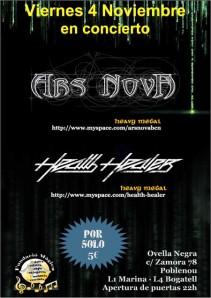 Ars Nova y Health Healer el 4/11 en Barcelona