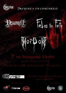 Disarmed, Fetus In Feto y Hordak, el 7/12 en Madrid