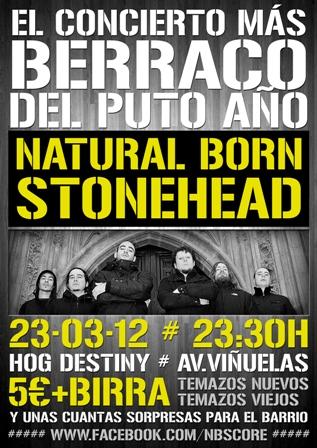 Natural Born Stonehead, el 23/03 en Tres Cantos